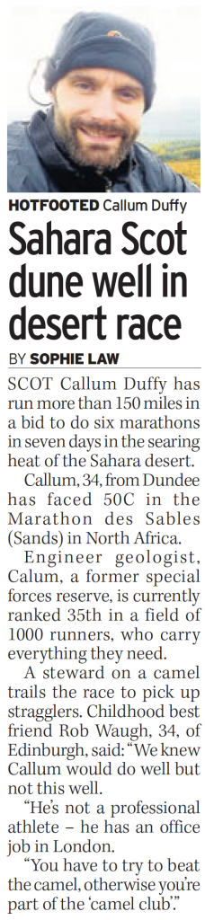 Daily Record Weeventure Marathon des Sables media coverage