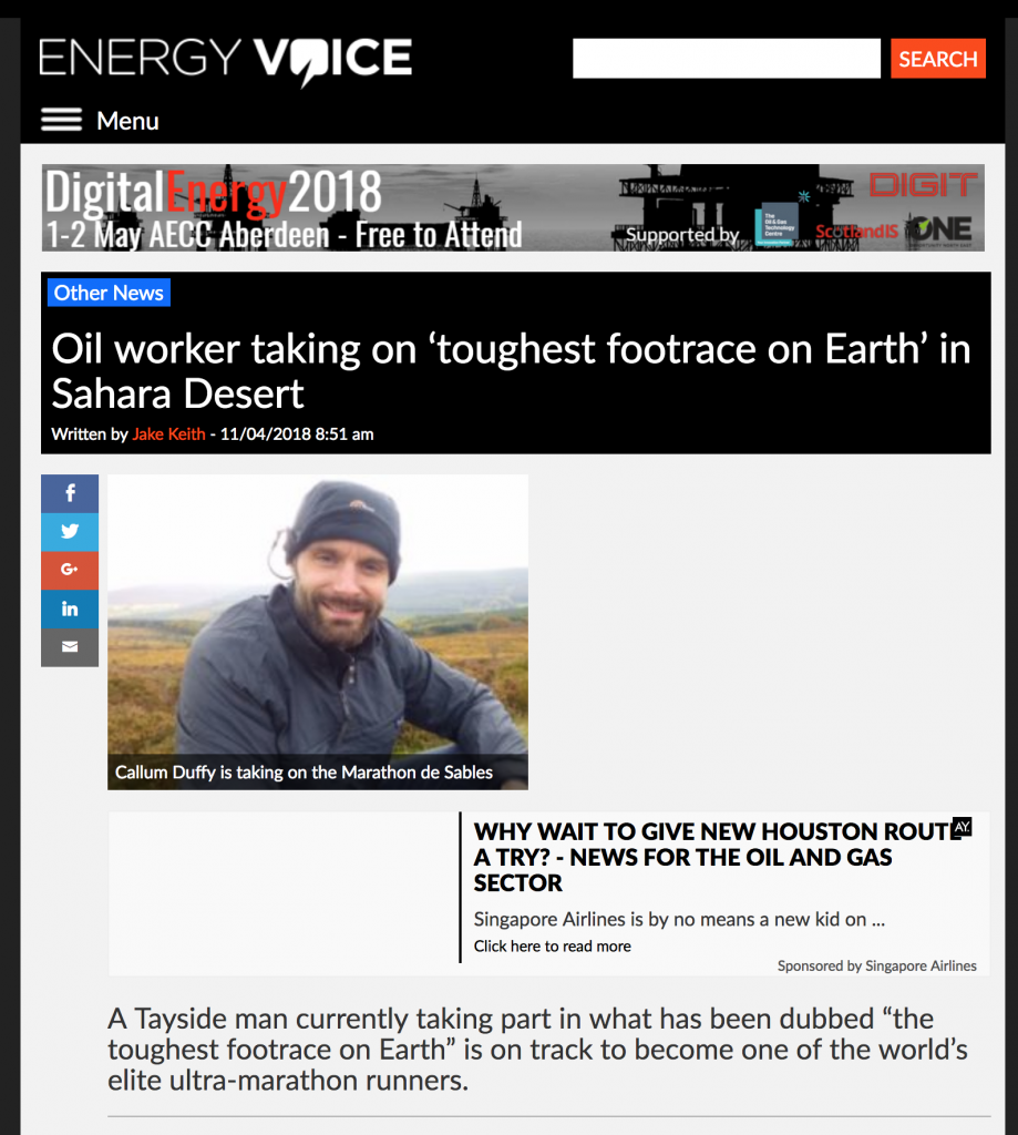 Energy Voice weeventure media coverage marathon des sables